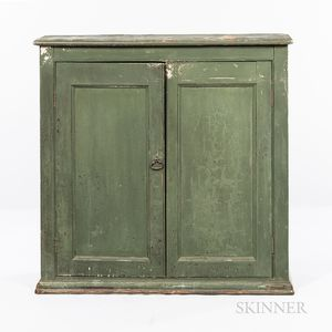 Country Green-painted Two-door Cupboard