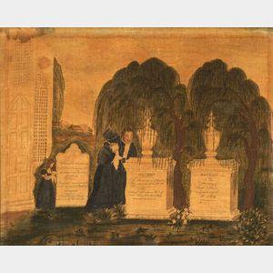 Watercolor Memorial Picture on Velvet