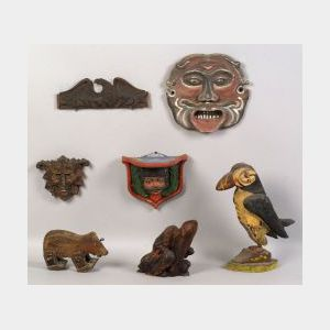 Group of Seven Carved Wooden Items