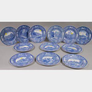 Twelve Wedgwood Blue and White University of Pennsylvania Ceramic Plates