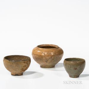 Three Celadon-glazed Stoneware Vessels