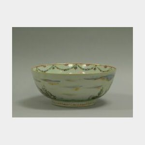 Chinese Export British Naval Ship Decorated Porcelain Bowl