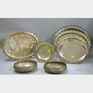 Eight Base Silver Trays and Bowls