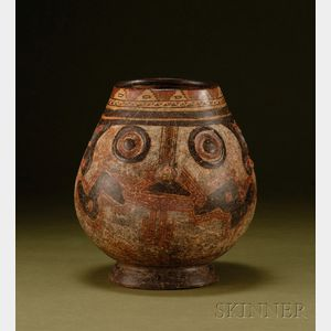 Pre-Columbian Polychrome Pottery Trophy Head Vessel