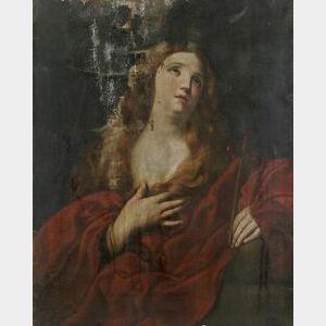 Franco/Italian School, 18th Century  Mary Magdalene with a Crucifix.