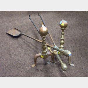 Pair of Brass Ball-top Andirons, Brass Fireplace Shovel, and Tongs.