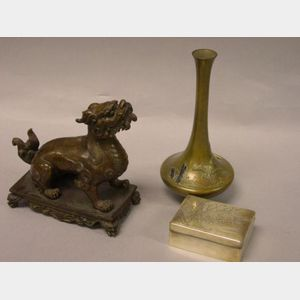 Japanese Bronze Vase, Silver Cigarette Box, and a Chinese Bronze Foo Dog.