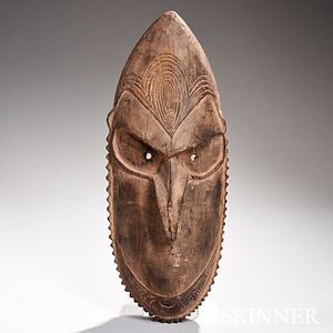 New Guinea Carved Wood Ancestral Mask