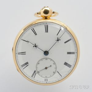 F.B. Adams & Sons 18kt Gold Open Face Lever Watch