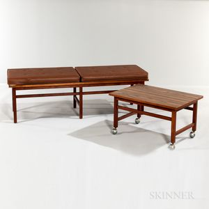 Roffman Cushioned Bench and Rolling TV Table