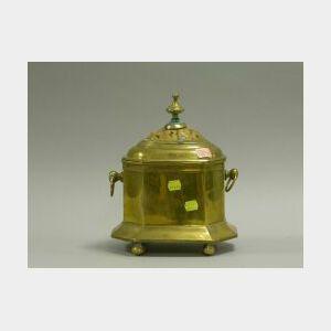 Tortoise Shell Mounted Brass Tea Caddy.