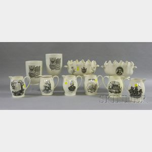 Ten Wedgwood Black Transfer Decorated Creamware Items