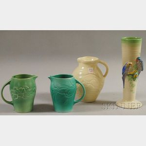 """Three Susie Cooper Glazed Art Pottery Pitchers and a Clarice Cliff """"Budgie""""   Vase"""