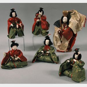 Five Hina Musician Dolls and a Noh Dancer Doll