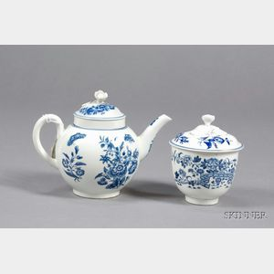 Two Dr. Wall Worcester Blue and White Porcelain Items