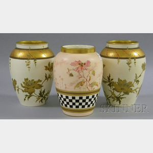 Pair of Wedgwood Japonesque Gilt Enamel Floral Decorated Porcelain Vases and a Wedgwood Gilt and Hand-painted P...