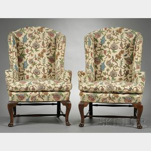 Pair of Queen Anne-style Carved Mahogany and Crewel-upholstered Easy Chairs