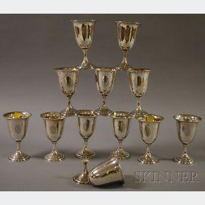 Set of Twelve Dominick & Haff Sterling Silver Goblets