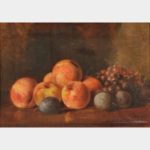 Benjamin Champney (American, 1817-1907)      Still Life with Peaches, Grapes, and Plums