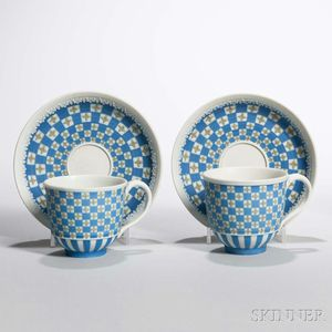 Two Wedgwood Tricolor Jasper Dip Diceware Cups and Saucers