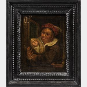 Dutch School, 17th Century Style      Two Small Genre Scenes: Woman with Baby at a Window
