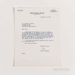 Kennedy, John F. (1917-1963) Typed Letter Signed to Richard S. Kelley, 30 September 1958, and Related Documents.