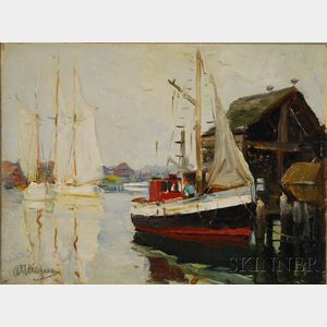 Anthony Thieme (American, 1888-1954)      Moored Schooners with Fishing Boat at Pier