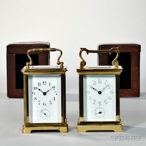 Two Time and Alarm Carriage Clocks