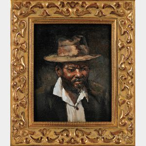 20th Century American School   Oil on Board Depicting an African American Man Wearing a Hat