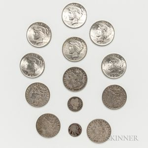 Eleven Morgan and Peace Dollars