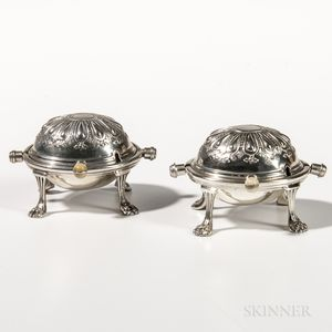 Pair of Sterling Silver Miniature Georgian-style Warming Dishes