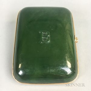 Gold-mounted Nephrite Jade Cigarette Case