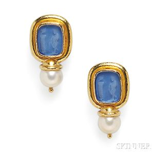 18kt Gold, Glass Intaglio, and Cultured Pearl Earclips, Elizabeth Locke