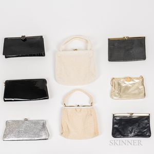 Eight Vintage Mostly Leather Handbags