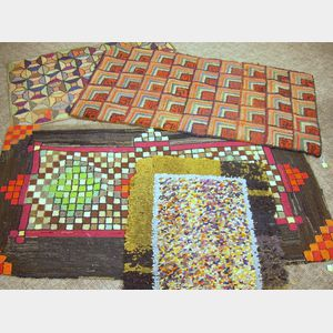 Four Geometric and Abstract Pattern Hooked Rugs.