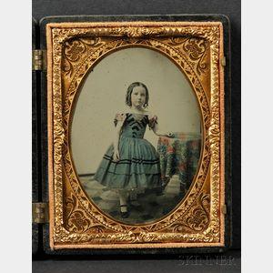 Quarter Plate Ambrotype Portrait of a Little Girl Wearing a Blue Dress