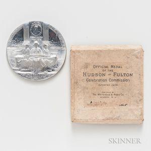 1909 New York Hudson-Fulton Celebration Aluminum Medal and Original Box.