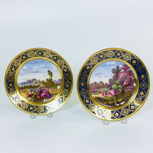Pair of French Landscape-decorated Porcelain Plates