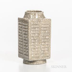 Guan-type Glazed Porcelain Cong Vase