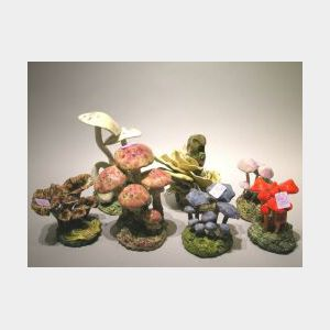Seven Assorted Modeled and Glazed Pottery Mushrooms