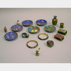 Seventeen Cloisonne Items in Floral Design Pattern