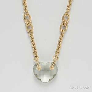 14kt Gold and Green Amethyst Necklace