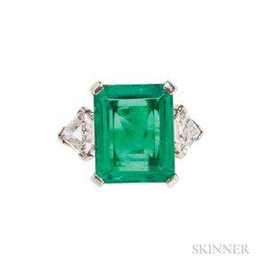 Platinum, Emerald, and Diamond Ring, J.E. Caldwell & Co.