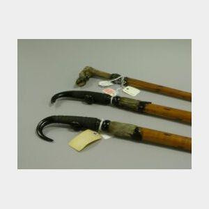 Three Alpine Antler Mounted Wood Walking Sticks.