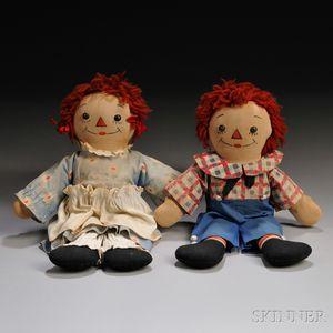 Pair of Georgene Raggedy Ann and Andy Awake/Asleep Dolls