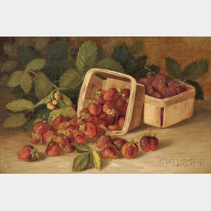 John Clinton Spencer (American, 1861-1919)      Still Life with Baskets of Strawberries