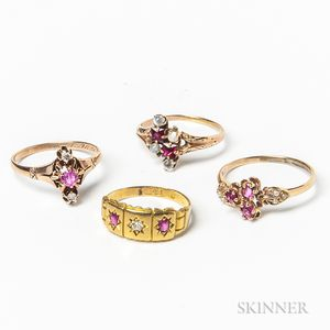 Four Gold and Ruby Rings