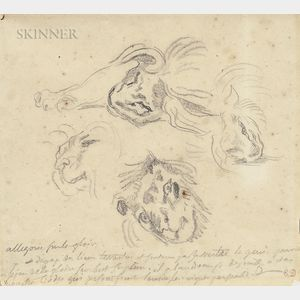 Attributed to Eugène Delacroix (French, 1798-1863)      Lion Studies/A Double-sided Sketch