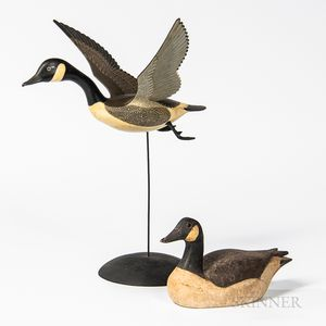 Two Small Carved and Painted Canada Goose Figures