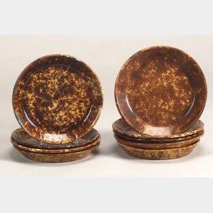 Nine Rockingham Glazed Pottery Pie Plates